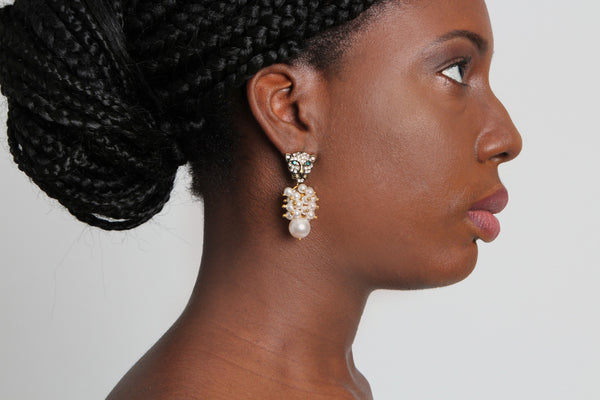Lion Pearl Drop Earring - Graced London - 2