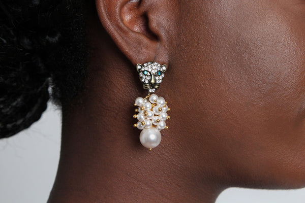 Lion Pearl Drop Earring - Graced London - 1