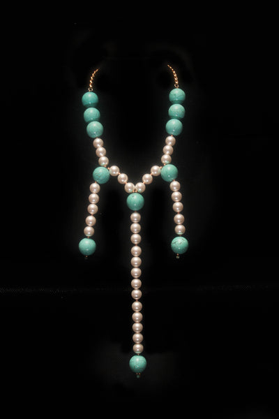 Turquoise Pearl Necklace - Graced London - 1