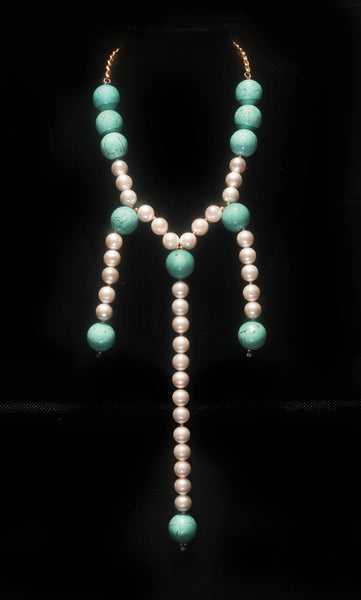 Turquoise Pearl Necklace - Graced London - 2