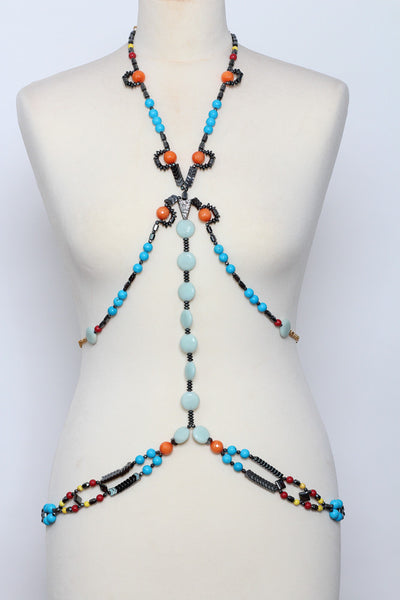 Turquoise  Body Chain - Graced London - 1