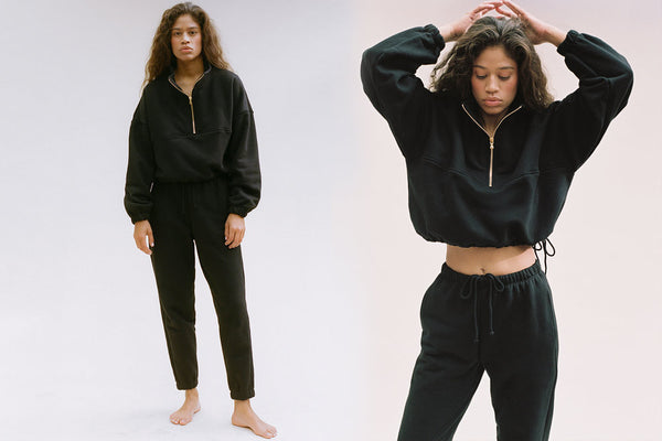 Diana Half-Zip Sweatshirt - Black