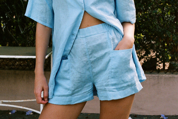 Blair Linen Pocket Short - Sky