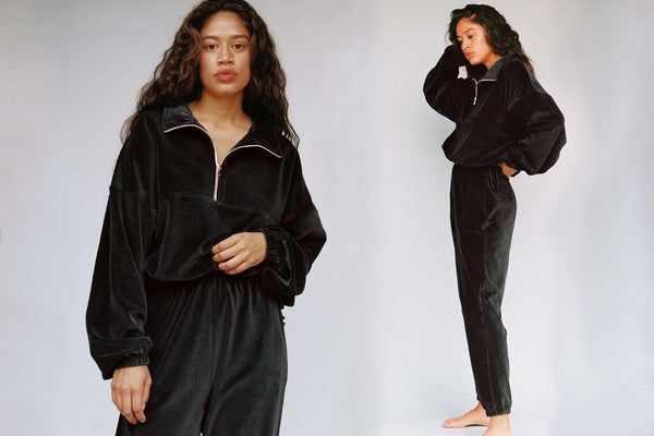 Velour Beachwood Sweatpant - Black