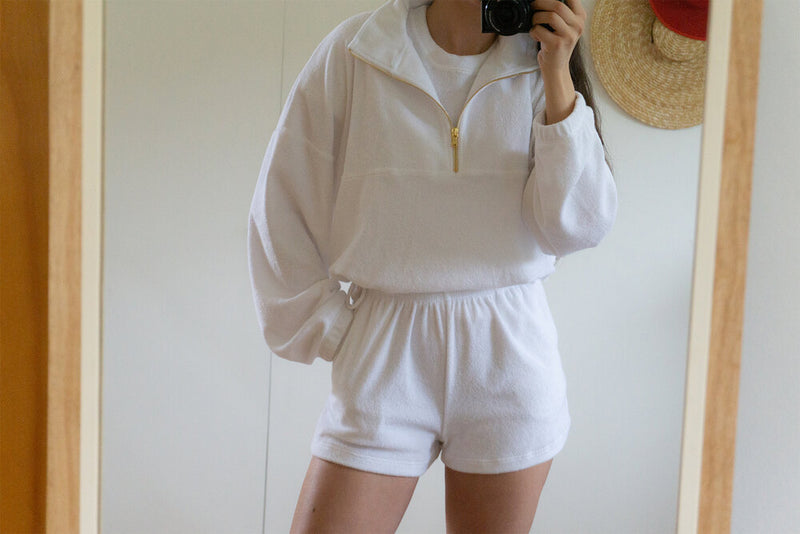 Diana Terry Half-Zip Sweatshirt - White