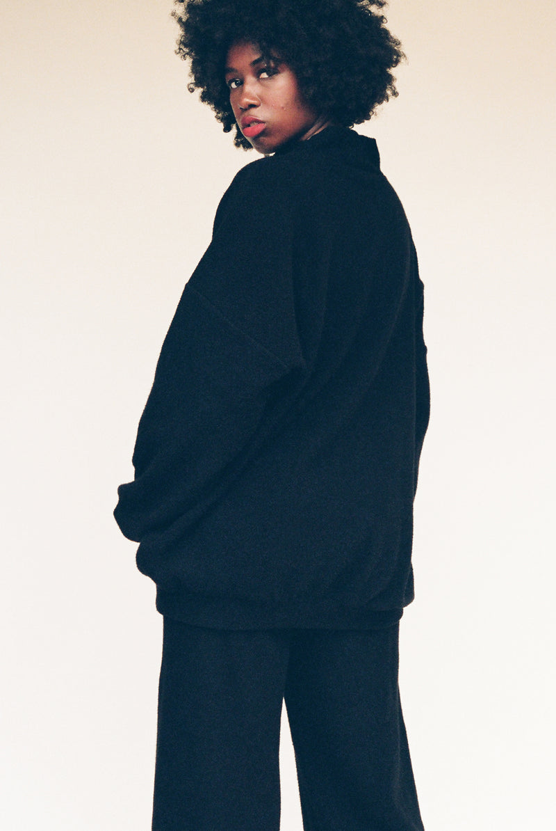 George Sherpa Fleece Sweatshirt - Black