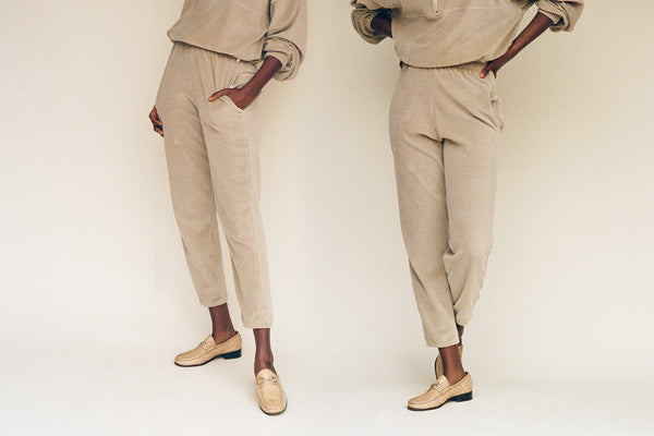Velour Beachwood Sweatpant - Beige