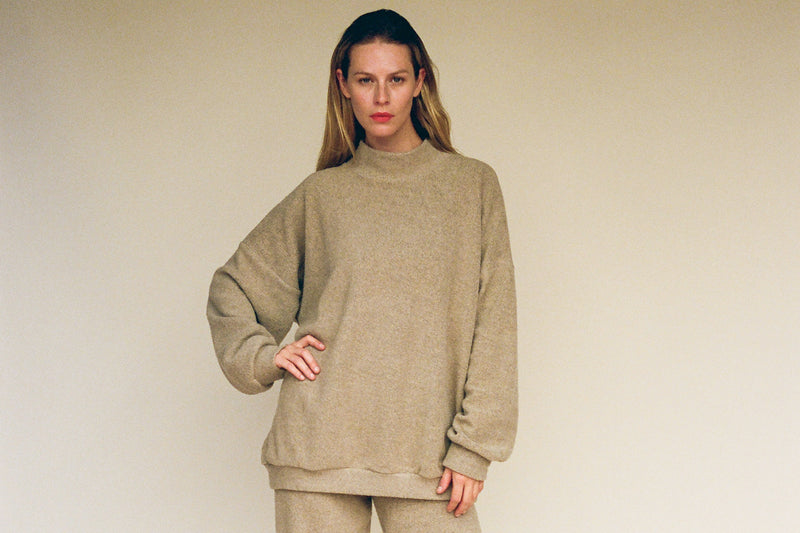George Sherpa Fleece Sweatshirt - Heather Toffee