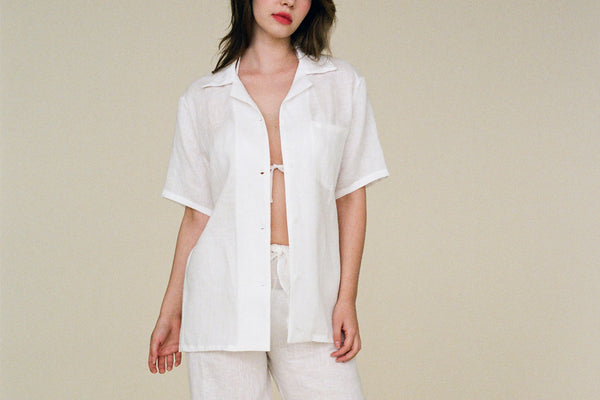 Tommy Linen Bowling Shirt - Bleached
