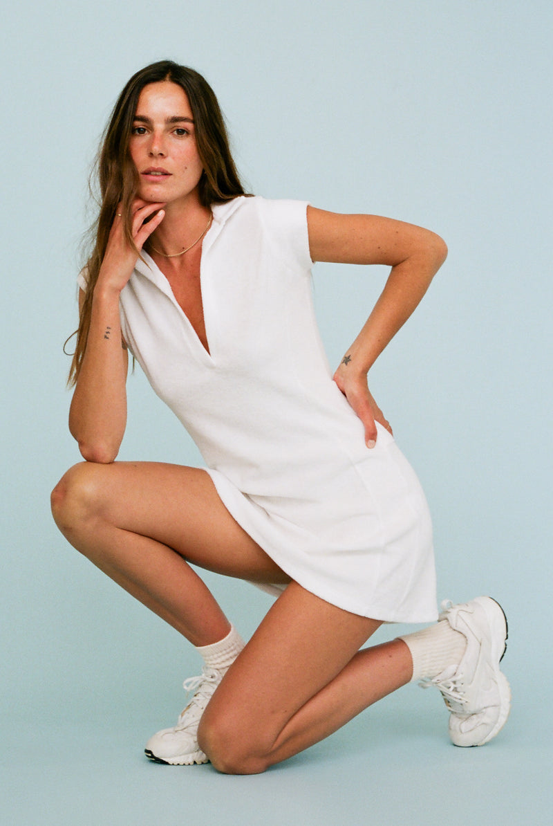 Coco Terry Tennis Dress - White