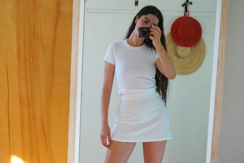 Terry Tennis Skirt - White