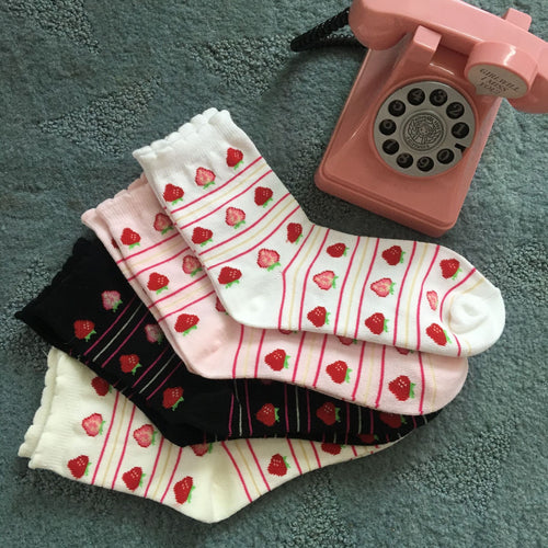 Strawberry Cotton Female Socks