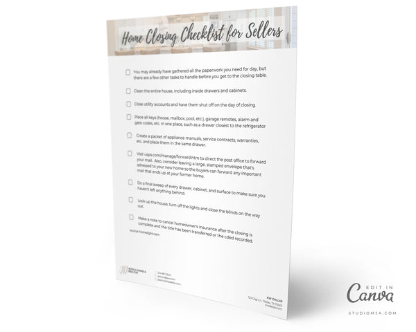 Home Closing Checklist for Sellers | Real Estate Template