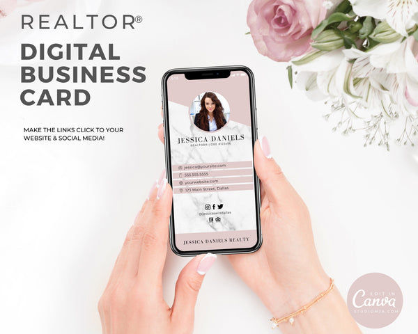 Digital Realtor Business Card - Marble