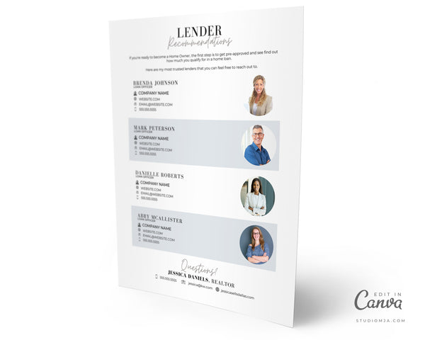 Lender Recommendations | Real Estate Template