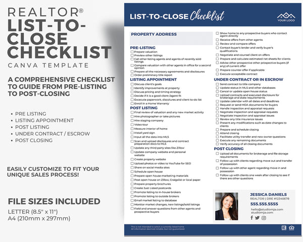 Realtor List to Close Checklist Template