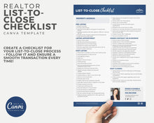 Load image into Gallery viewer, Realtor List to Close Checklist Template