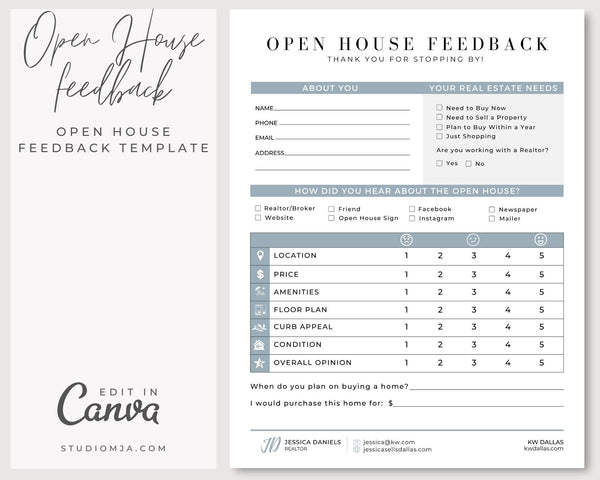 Open House Feedback | Real Estate Form Template