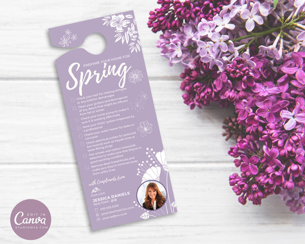 realtor door hanger in a lilac shade with home maintenance, laying on a wood background with purple flowers.