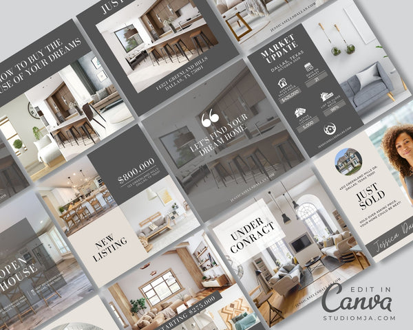 Real Estate Instagram Templates - Set of 30 - Custom