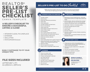 Sellers Pre-Listing To Do Checklist | Real Estate Template