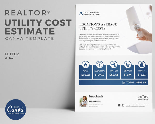 utility cost mockup template in white and blue, picture of lightbulb, with realtor logo and realtor photo