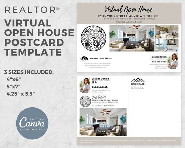 Virtual Open House Postcard | Real Estate Postcard Template