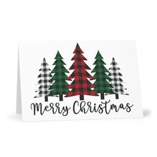 Load image into Gallery viewer, Merry Christmas Plaid Trees Greeting Cards (Set of 7)