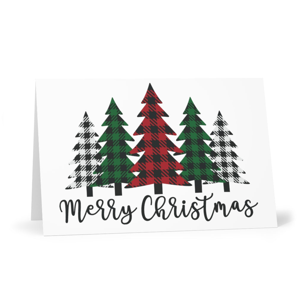 Merry Christmas Plaid Trees Greeting Cards (Set of 7)
