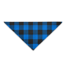 Load image into Gallery viewer, Pet Bandana Blue Black Buffalo Checks Plaid Square Or Triangle