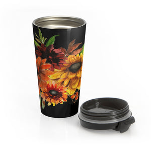 Black stainless steel travel mug embellished with beautiful Autumn colored flowers.