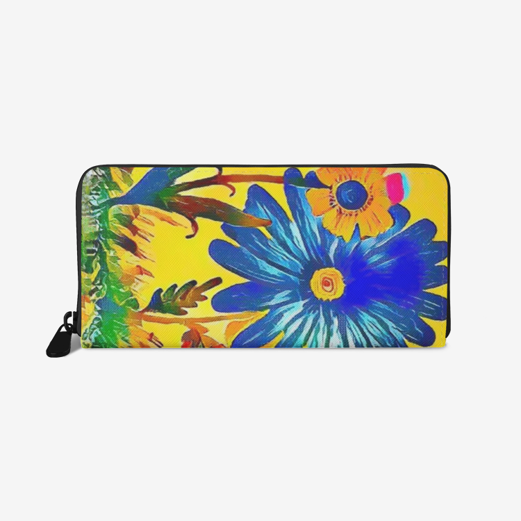 The Garden PU-Leather Wallet/Phone Case Hand Drawn Zippered Closure Flowers Floral Multicolored