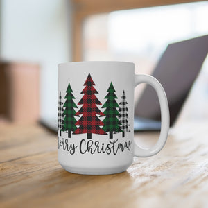 Merry Christmas Plaid Trees Ceramic Mug 15oz