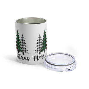 Merry Christmas Plaid Trees Insulated Tumbler Mug 10oz