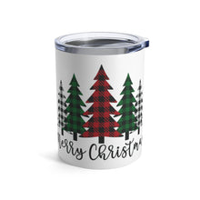 Load image into Gallery viewer, Merry Christmas Plaid Trees Insulated Tumbler Mug 10oz