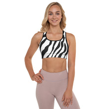 Load image into Gallery viewer, Women's Animal Lover Zebra White Padded Sports Bra/Top/Shirt