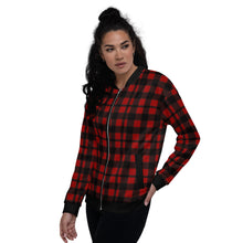 Load image into Gallery viewer, Red Black Plaid Unisex Bomber Jacket