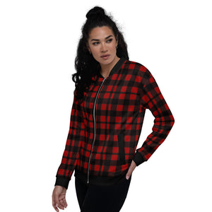 Red Black Plaid Unisex Bomber Jacket