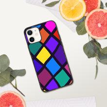 Load image into Gallery viewer, Stained Glass Diamond Biodegradable iPhone Case