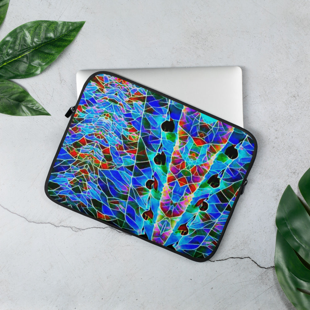 Peacock Padded Laptop Sleeve Faux Fur Lining