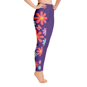 Floral Fantasy Purple Yoga Leggings
