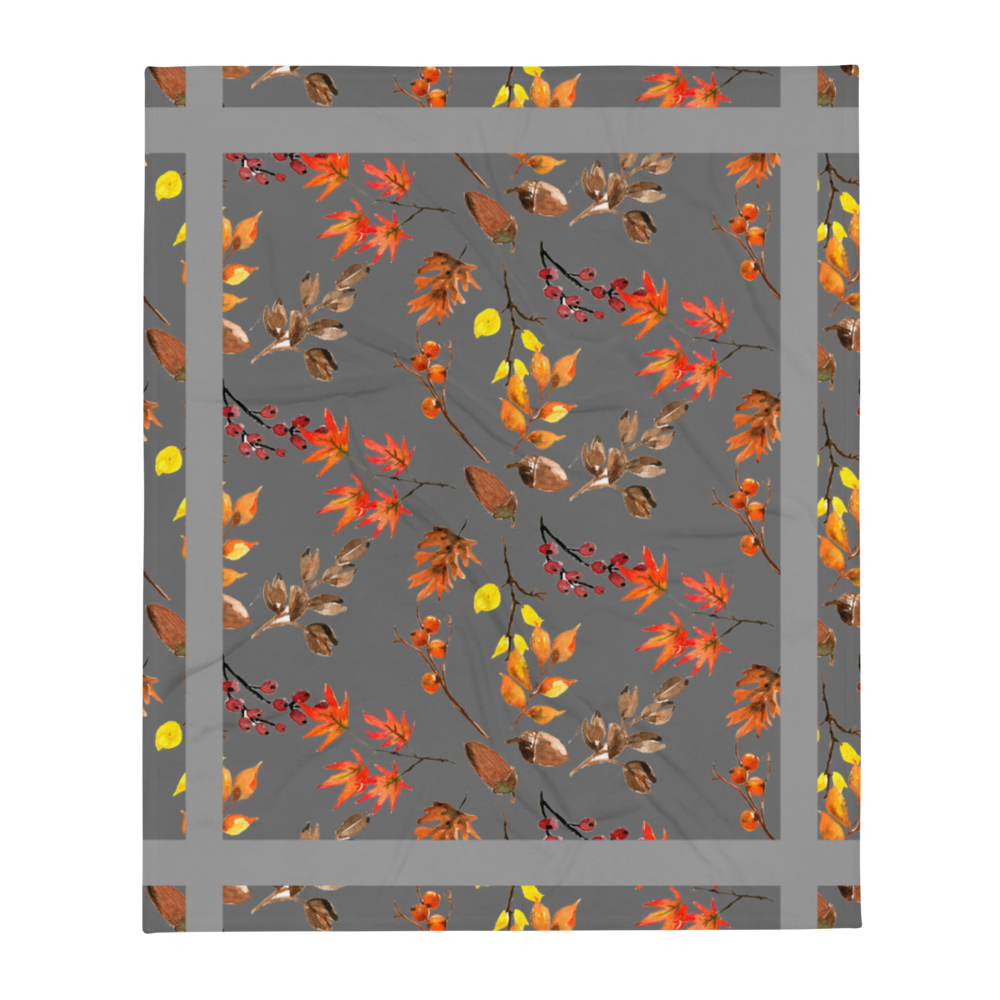 Autumn Grey Throw Blanket 50x60 Inches Machine Washable Soft Polyester