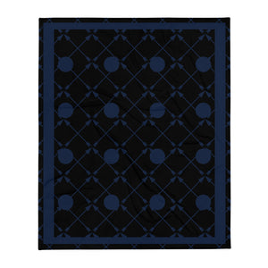 Friendship Arrows Throw Blanket 50 x 60 inches Black Base, Navy Accents