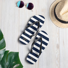 Load image into Gallery viewer, Navy Stripes Flip-Flops