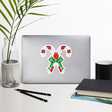 Load image into Gallery viewer, Large Candy Cane Bubble-Free Kiss Cut Sticker