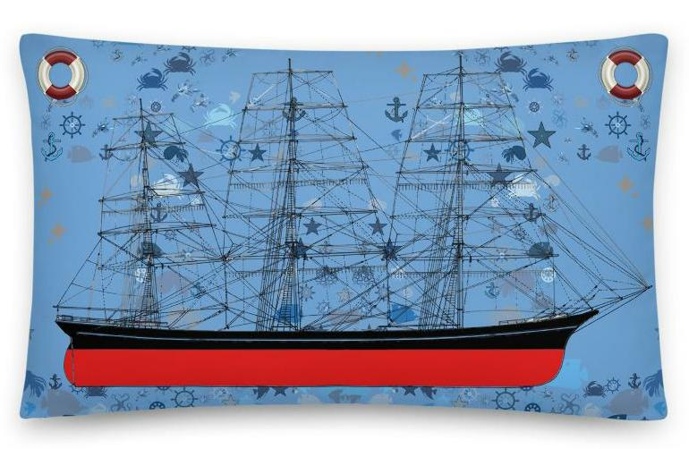 Nautical Ship Lifesavers Accent Decor Pillow 20x12