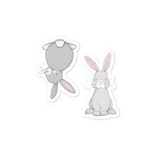 Load image into Gallery viewer, Medium Front and Rear Facing Rabbits Sticker Sheet Bubble-Free Kiss Cut