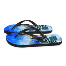Load image into Gallery viewer, Blue Ice Forest Flip Flops