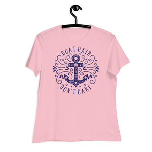 "Women's Relaxed T-Shirt ""Boat hair. Don't care."" Bella Canvas 6400"