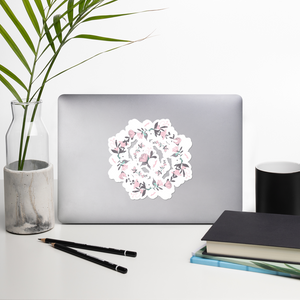 Pink Grey Floral Wreaths Bubble-Free Kiss Cut Sticker